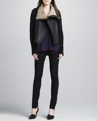Shawl-Collar Motorcycle Jacket, Cashmere V-Neck Sweater & Zip-Pocket Skinny Pants
