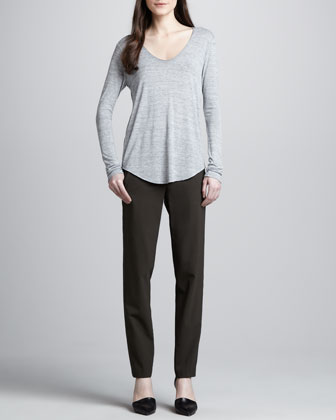 Slub V-Neck Tee & Relaxed Stretch-Wool Trousers