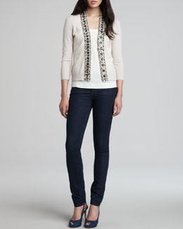 Tory Burch Rosalind Embellished-Placket Cardigan, Elise Scoop-Neck Top & Rinsed Denim Leggings