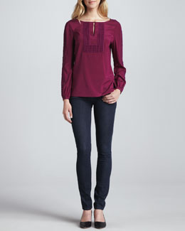 Tory Burch Lillian Long-Sleeve Top & Rinsed Denim Leggings