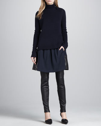 Ribbed-Trim Knit Sweater, Leather-Hem Crepe Skirt & Leather Ankle-Zip Leggings