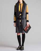 Marni Hidden-Placket Gilet & Printed Mandarin-Collar Dress
