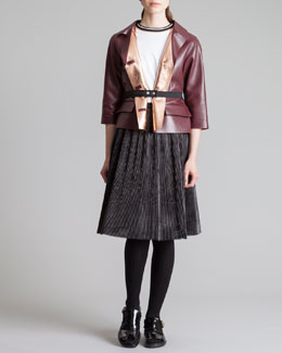 Marni Cropped Leather Jacket, Long-Sleeve Tee, Knee-Length Circle Skirt & Elastic Snap Belt