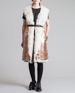 Marni Shearling-Lined Metallic Leather Gilet & Ruffle-Front Tee