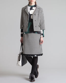 Marni Cropped Check Jacket, Printed Mandarin-Collar Blouse & A-Line Check Skirt