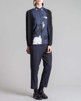 Marni V-Neck Cardigan, Printed Poplin Peplum Top & Drawstring Trousers