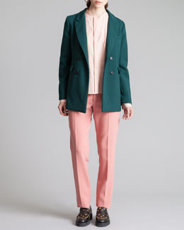 Marni Double-Breasted Blazer, Collarless Button-Down Blouse & Straight-Leg Trousers