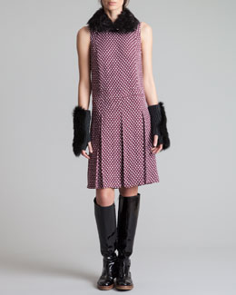 Marni Shearling Collar, Houndstooth-Print Pleated Dress & Fur Fingerless Gloves