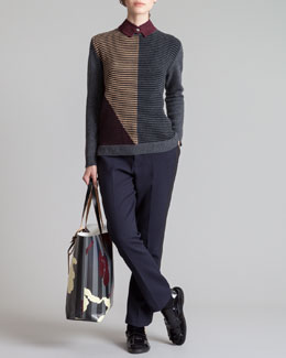 Marni Single Snap Collar, Back-Buttoned Striped Sweater & Straight-Leg Tuxedo Pants