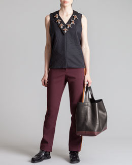 Marni Beaded Collar V-Necklace, Tabbed Sleeveless Top & Straight-Leg Tuxedo Pants