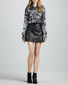 Rachel Zoe Ibiza Basic Blouse & Venice Leather Miniskirt