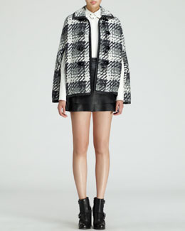 Rachel Zoe Melodie Herringbone Toggle Capelet, Emmanuel Bishop-Sleeve Blouse & Venice Leather Miniskirt