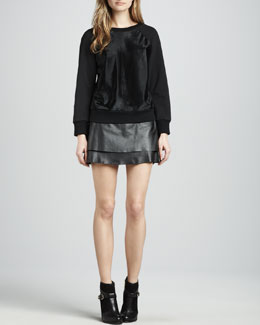 Rachel Zoe January Crewneck Sweatshirt & Venice Leather Miniskirt