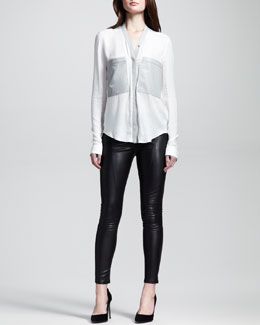 Helmut Lang Two-Tone Patch-Pocket Top & Cropped Zip-Leg Leather Leggings