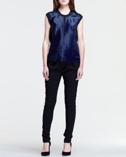 Helmut Lang Paneled Keyhole Combo Top and Angled-Front Skinny Pants