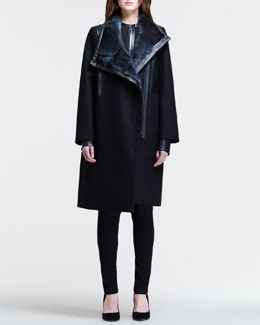Helmut Lang Oversized Fur-Collar Coat, Split-Back Shirt & Angled-Front Skinny Pants