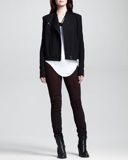 HELMUT Helmut Lang Ponte Kangaroo-Pocket Moto Jacket, Long-Sleeve Double-Shirttail Tee, Asymmetric Jersey Bra Top & Halo Pigment-Washed Skinny Pants