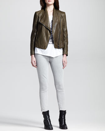 Crinkled Leather Moto Jacket, Spark-Print Slub Tee & Cropped Stitched Skinny Pants