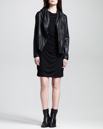 Hooded Leather Zip Jacket & Kinetic Draped-Front Dress