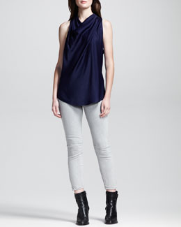 HELMUT Helmut Lang Draped Racerback Top and Cropped Stitched Skinny Jeans
