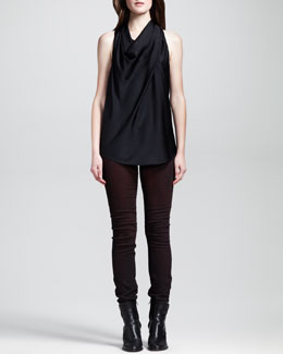 HELMUT Helmut Lang Draped Racerback Top & Halo Harrow Pigment-Washed Skinny Pants