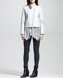HELMUT Helmut Lang Kendo Paneled Zip Jacket, Shift Threadbare Oversized Tee & Elst Quake Stretch Legging Jeans