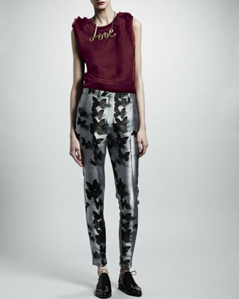 Sleeveless Organza-Front Top, Butterfly-Print Ankle-Zip Pants & Skinny Leather Belt