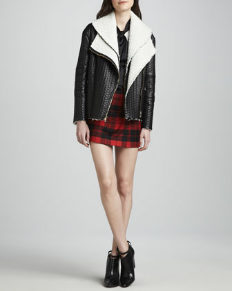 Carrie Textured-Leather Double-Collar Jacket, Robin Contrast-Bow Blouse & Weston Plaid ...