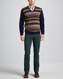 Etro Aztec Striped V-Neck Sweater, Paisley-Print Sport Shirt & Dyed Denim Jeans