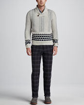 Etro Shawl Collar Sweater, Plaid with Paisley Sport Shirt & Plaid Pants
