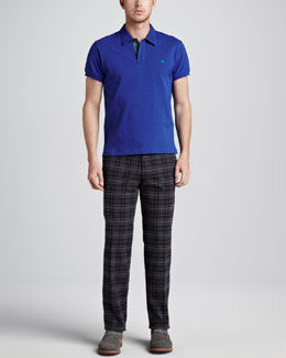 Etro Paisley-Facing Polo & Plaid Pants