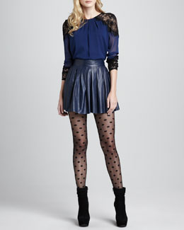 Alice + Olivia Danyelle Lace-Trim Top & Short Pleated Leather Skirt