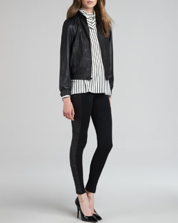 Alice + Olivia Zeanah Leather Jacket, Striped Draped Turtleneck & Ponte/Leather Combo Leggings
