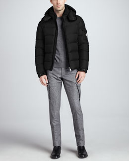 Moncler Himalaya Quilted Down Jacket, Logo Heather Sweater & Tweed Cargo Pants