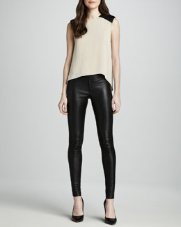 Alice + Olivia Leather-Shoulder Hi-Lo Top & Leather Leggings