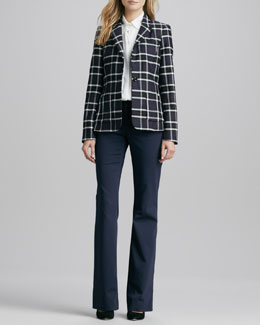 Alice + Olivia Savetta Plaid Jacket, Pintucked Stretch-Silk Blouse & Stacey Twill Flat-Front Pants