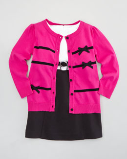 Milly Minis Ribbon Bow Cardigan & Cece Combo Belted Dress