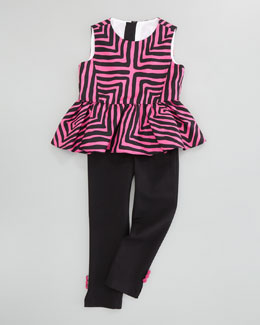 Milly Minis Pippa Peplum Top & Ponti Leggings