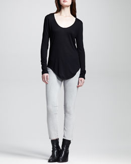 HELMUT Helmut Lang Long-Sleeve Double-Shirttail Tee and Cropped Stitched Skinny Jeans