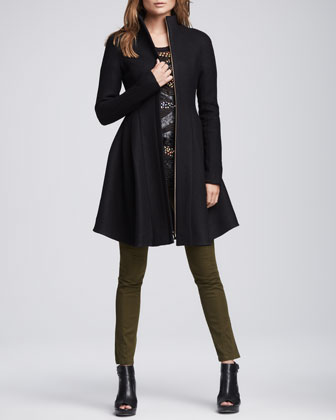 Skyscape Fit/Flare Wool Coat, Constellation Sheer Beaded Top & Orbit Zip-Pocket Pants