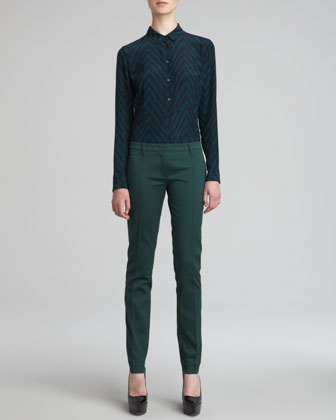 Herringbone-Print Blouse & Cigarette Trousers