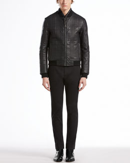 GUCCI Quilted Leather Bomber Jacket, Wool V-Neck Sweater, Washed Stretch Fitted Pants & Printed Silk-Twill Scarf