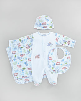 Kissy Kissy On The Move Hat, Bib, Footie & Blanket