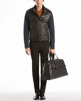 GUCCI Nylon Moto Jacket with Contrast Leather Detail, Fishmerman Knit Crewneck Sweater, Washed Stretch Fitted Pants & Ceiling-Print Silk Scarf