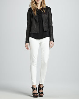 Theory Fayda Leather Motorcycle Jacket, Mandoa Cowl-Neck Blouse & Billy Cropped Slim Pants