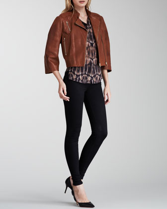 Constance Cropped Leather Jacket, Morisot Printed Sleeveless Blouse & High-Rise Maria Skinny Jeans