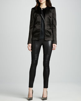 J Brand Ready to Wear Greville Satin Jacket & Emmi Skinny Leather Pants