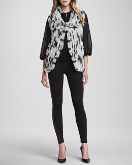 Alice + Olivia Celine Rabbit Fur Vest, Cass Peasant-Sleeve Blouse & Ponte/Leather Combo Leggings