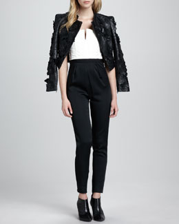 Alice + Olivia Zaiden Floral-Applique Moto Jacket & Arrow Two-Tone Jumpsuit
