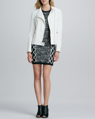 Culkin Asymmetric-Zip Jacket & Argon Mix-Print Dress